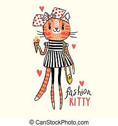 Fashion kawaii kitty. Vector illustration of a cat in fashionable clothes. Can be used for t-shirt print, kids wear design, baby shower card