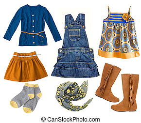 df5aff260 Baby summer bright fashion clothing. Fashion kid's clothing set.Collage of child  girl's clothes isolated.