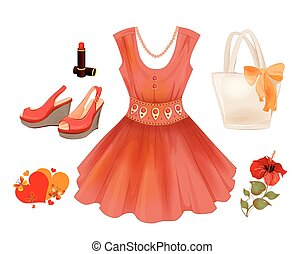 Fashion kit for girls. Dress, handbag, flower, lipstick and sandals.