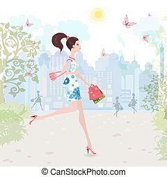 Fashion lady walking on street with shopping