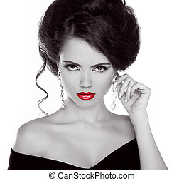 Fashion lady woman with red lips and diamonds, black and white photo