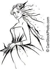 Fashion line art illustration