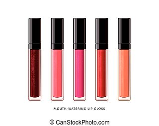 Fashion lip gloss collection, set of lip gloss mockup in 3d illustration, shimmering cosmetic products