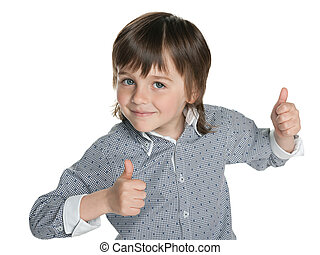 Fashion little boy holds his thumbs up