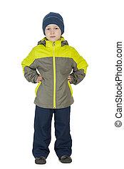 Fashion little boy in a winter jacket