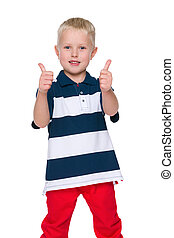 Fashion little boy with his thumbs up