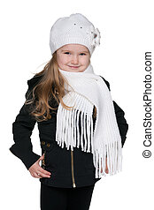 Fashion little girl against the white