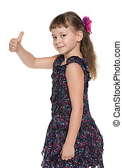 Fashion little girl holds her thumb up