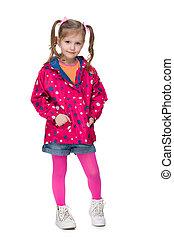 Fashion little girl in a jacket