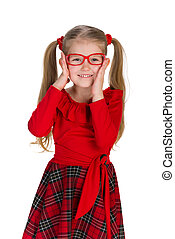 Fashion little girl in glassess