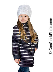 Fashion little girl in the winter clothes