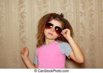 fashion little girl retro sunglasses vintage wallpaper