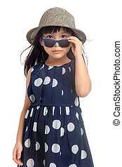 Fashion little girl with sunglasses