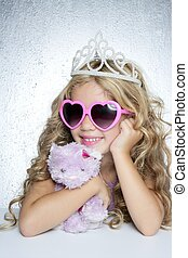 fashion little princess girl pink teddy bear crown and ...