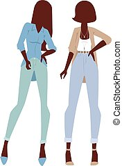 Fashion looks pure beauty two girls colored silhouette flat vector illustration.