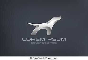 Fashion luxury jewelry Dog metal abstract silhouette logo...