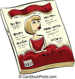 Fashion Magazine - A cartoon fashion magazine with a woman...