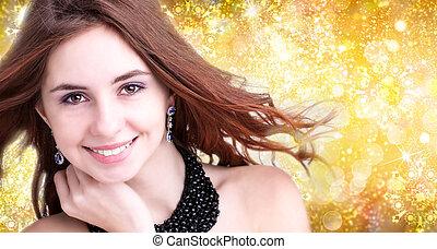 Fashion Magic Young Girl over Christmas background
