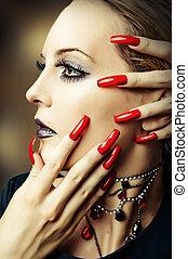 fashion make up and long red nails