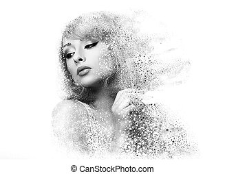 Fashion makeup woman with pixeled dispersion effect. Art...