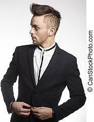 fashion male model in black suit