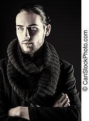 fashion male model - Handsome brunet man in black suit...