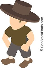 Fashion man icon, isometric style