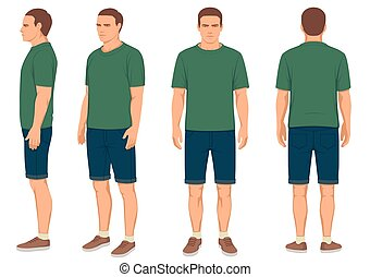 man isolated, front, back and side view