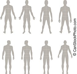 Fashion man solid template figure - Full length front, back ...