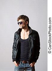 Fashion man - Fashion portrait of the young beautiful man in...