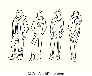 fashion man vector sketch illustration isolated set
