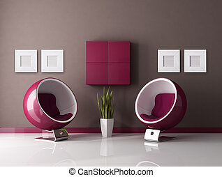 two fashion armchair in a purple and brown lounge - rendering