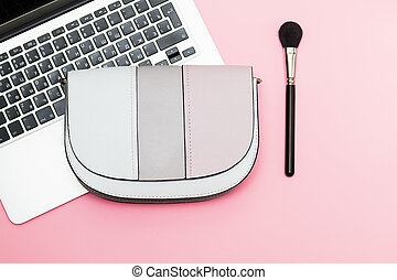 Fashion mockup with business lady on pink background