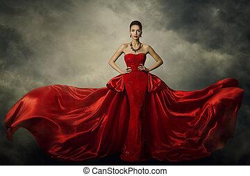 Fashion Model Art Dress, Elegant Woman in Red Retro Gown,...