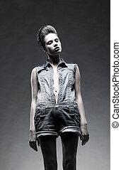 Fashion model attractive woman posing in studio