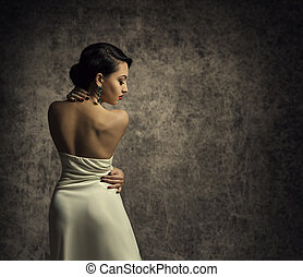 Fashion Model Back, Elegant Woman Dress, Lady in Beauty Gown Rear View, Posing over grunge background