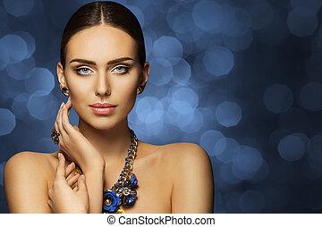 Fashion Model Beauty, Beautiful Woman Face Makeup, Elegant Young Girl Studio Portrait