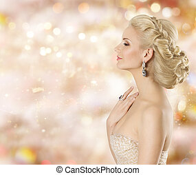 Fashion Model Beauty Portrait, Elegant Woman Jewelry, Beautiful Girl Applying and Smelling Cosmetic