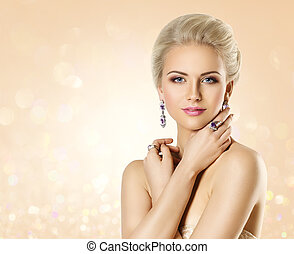 Fashion Model Beauty Portrait, Elegant Woman Portrait with Jewelry, Beautiful Makeup and Hairstyle
