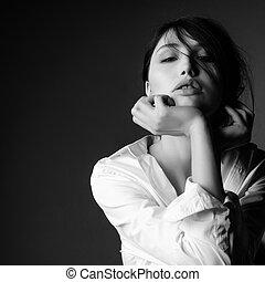 Fashion model black and white portrait