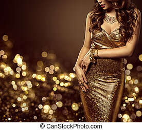Fashion Model Body in Gold Dress, Woman Elegant Golden Gown, Beautiful Lady