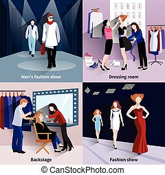 Fashion model catwalk set
