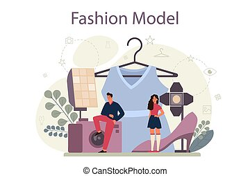 Fashion model concept. Man and woman represent new clothes