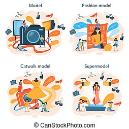 Fashion model concept set. Man and woman represent new clothes
