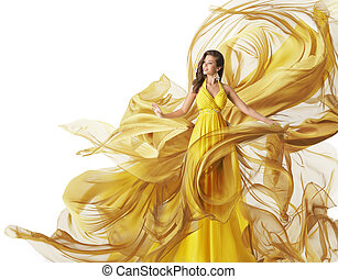 Fashion Model Dress, Woman in Flowing Fabric Gown, Clothes Flow, White Yellow