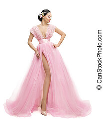 Fashion Model Dress, Woman in Long Pink Clothes, Young Asian Girl Posing over White Background
