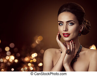 Fashion Model Face and Jewelry, Woman Beauty Portrait, Beautiful Girl Makeup and Hairstyle