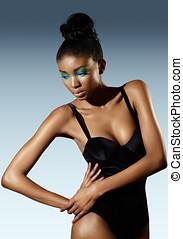 Fashion Model - Fashion model wearing black bodysuit.