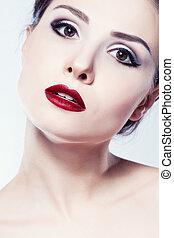 Fashion model girl face, beauty woman make up.