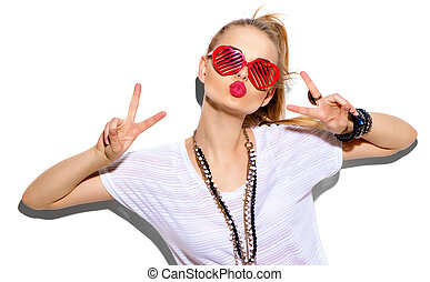 Fashion model girl isolated on white. Beauty stylish blonde woman posing
